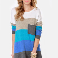Hot Cocoa Blue Striped Sweater