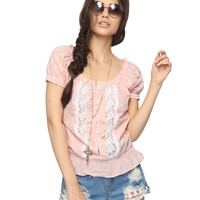 Lace Trim Striped Peasant Top