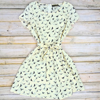 Birdie Print Flared Dress - Ivory | .H.C.B.