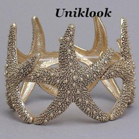 CLEARANCE SALE Chunky Gold Marcasite Look Wrist Wrap Starfish BRACELET Jewelry