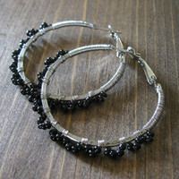Mira Earrings -  Hammered Texture 40mm Silver Hoops Wire Wrapped with Tiny Black Seed Beads - Modern Boho Hippie Gift