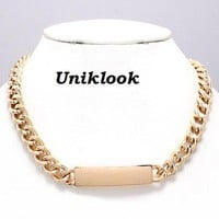 Celeb Style Chunky Big Huge Bold Gold Chain ID Pendnt Necklace Fashion Jewelry
