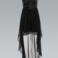 Black Strapless Sequin Bandeau Dress with Asymmetric Hem