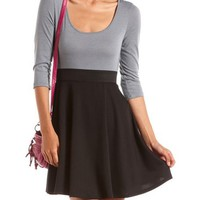 Bar Back 2-Tone Skater Dress: Charlotte Russe