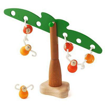 BALANCING MONKEYS | Balance The Monkey Toy Set, Jungle Toy With Palm Tree, Teaches Math Through Balance, Equilibrium and Counting, Sustainable Rubberwood, Educational Childrens Toy | UncommonGoods