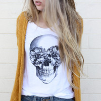 TenThings. FRIDA. skull. vintage soft cotton. t-shirt.