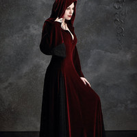 Deirdre Hooded Dress Cloak in Velvet and Lace by rosemortem