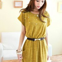 Hot Sale Yellow Beads Adorned Pleated Dresses : Wholesaleclothing4u.com