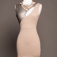 Beige Sequence Dress