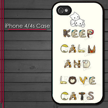 iPhone 4 Case - Keep Calm and Love Cats - iPhone 4s Case - iPhone 4 cover  skin -