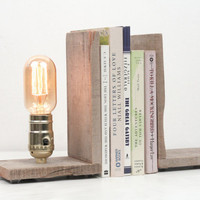 Book Ends- Rustic Wood Lighting, Bookends, Wood Lamp, Lighting, Exposed Edison Bulb