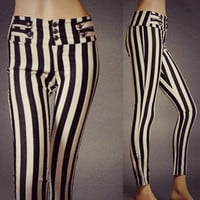 High Waist Jail Break Sailor Button Black White Striped Pants Fashion Stripes