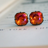 Astral Pink Swarovski Crystal Stud Earrings, Cushion Cut, Square, Oxidized Brass, Estate Style, Orange, Pink, Stocking Stuffer