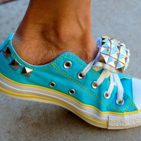 Vintage Aqua Studded Converse