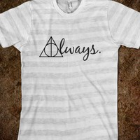 Always w/ Deathly Hallows Symbol-Unisex Ash/White Stripe T-Shirt