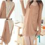 Fashion Korean Women&#x27;s Elegant Loose Lace Stitching Knitted Sweater Tops Blouse