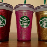 Starbucks glitter tumbler, grande 16 oz (Cold tumbler).