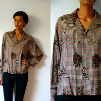 Vtg Equestrian Plaid Hunting Horses Printed Button Down LS Shirt