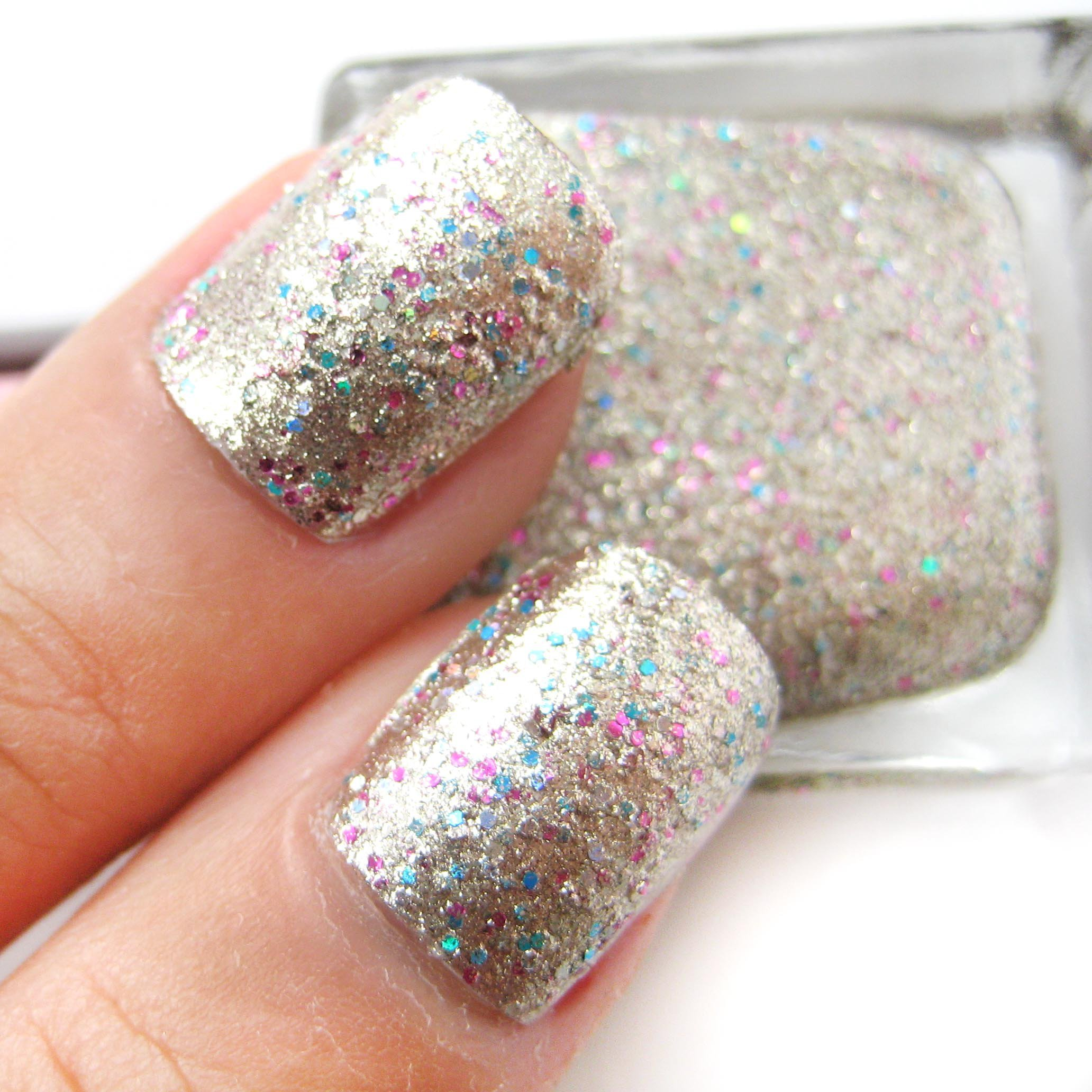 Pink And Blue Glitter Nail Polish: Gold Base With Pink And From Nailartsupplies On