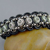Leather Wrap Bracelet Black Diamond Crystal Gifts by UrbanCorner