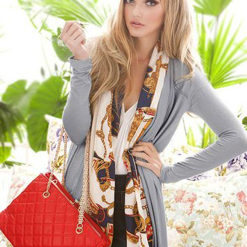Stylish Floral Chiffon Silk Scarf Splicing Women No Button Coat Gray  -  BuyTrends.com