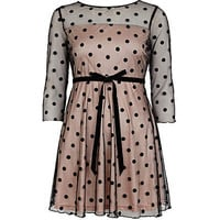Black Chelsea Girl polka dot skater dress