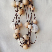 linen necklace crochet natural wood beads Rustic Simple Elegant ecofriendly nursing necklace mothers day