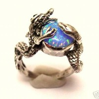 Sterling Silver 925 Dragon Snake Ring Onyx or Opal by jewelry2buy