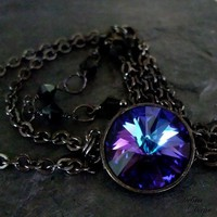 Purple Sapphire Necklace Pendant Swarovski Crystal by debradane