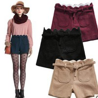 elegant petals waist woolen shorts the boots pants with belt