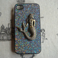 Steampunk Mermaid Black bling glitter hard case For Apple iPhone 4 case iPhone 4s case cover