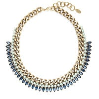 Elizabeth Cole Gold Braided & Blue Crystal Multi-Chain Necklace