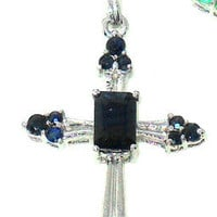 1.10ctw Genuine Blue Sapphire Cross Pendant in Sterling Silver