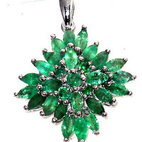 2.50ctw Genuine Natural Emerald Marquise Pendant with chain
