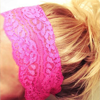 So Soft Wide Stretch Lace Headbands in Neon Pink Orange Green Yellow Blue Yoga Fitness Workout Headbands Non Marking No Headaches FREE SHIP