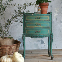 One of a Kind Vintage Nightstand Crackle Green