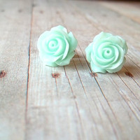 G L A C I E R - Mint Frost Spring Green Rose Flower Silver Plated Post Stud Earrings