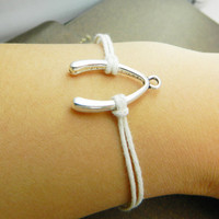 Christmas gift Unisex Simple fashion  silver wishbone  bracelet-- White wax rope  Braided Bracelet