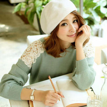 YESSTYLE: Tokyo Fashion- Lace-Yoke Sweater (Blue Green - One Size) - Free International Shipping on orders over $150