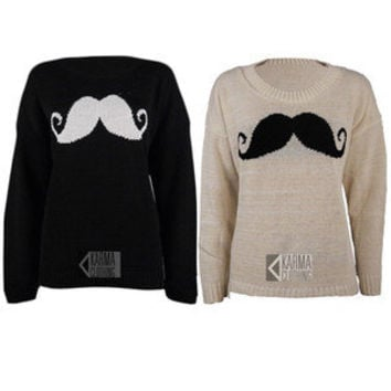 NEW LADIES BIG MOUSTACHE PRINT KNITTED JUMPER WOMENS SWEATER TOP 8-14