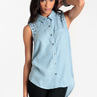 Stud Life Chambray Tank - $44.00 : ThreadSence, Women&#x27;s Indie &amp; Bohemian Clothing, Dresses, &amp; Accessories