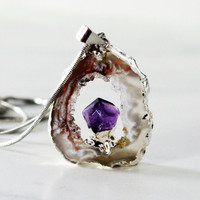 Geode Pendant Druzy Agate Amethyst Point Oco by GlimmeringGems