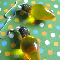 Yellow Christmas light earrings