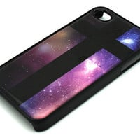 Black Snap On Plastic Case Cross Galaxy Sky iPhone 4 4s rainbow vintage stars