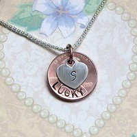 Initial Heart Lucky Penny Necklace