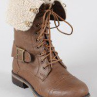 Lug-21 Shearling Cuff Military Combat Boot