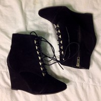 Forever 21 Black Lace Up Wedge Boot