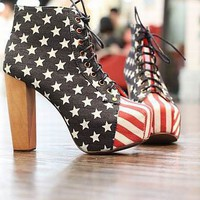 American Flag Lacing Design High-Heeled Platform Boots