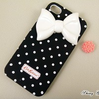 Cute bow iPhone 4 case with white dot hard case