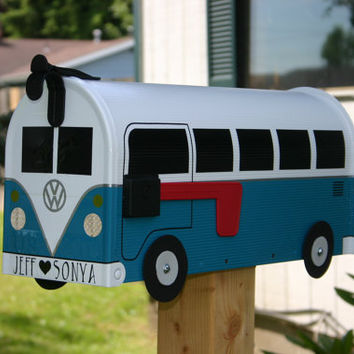 Teal Volkswagen Bus Mailbox by TheBusBox Custom made - Choose your color - SplitBusBox